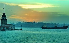 Picture Strait, lighthouse, panorama, Istanbul, Turkey, The Bosphorus
