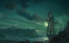Picture the sky, landscape, the moon, ship, sailboat, iceberg