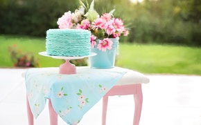 Picture flowers, nature, table, bucket, cake