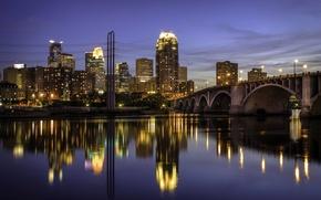 Picture bridge, lights, reflection, river, home, lights, USA, Minneapolis