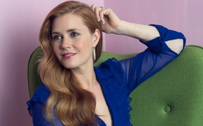 Picture smile, makeup, dress, actress, hairstyle, brown hair, beautiful, sitting, blue, photoshoot, posing, Amy Adams, Amy …