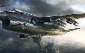 Picture fantasy, Star, sea, water, boats, armament, aircraft and weapons