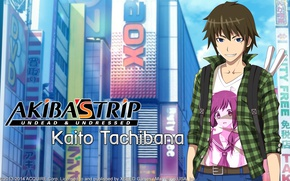 Picture the city, the game, anime, art, guy, Akiba's Trip: Undead & Undressed