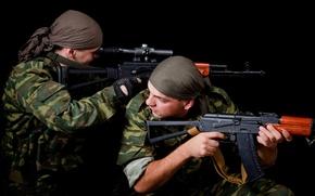 Picture Soldiers, Army, Kalashnikov, Machine, sight, AK 74, optical