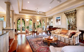 Picture style, sofa, interior, living room, house, mansion