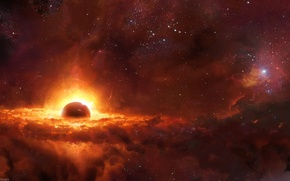 Picture fire, fantasy, cosmos, energy, planets, sci fi