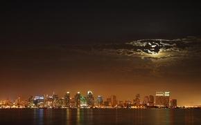 Wallpaper night, lights, the moon