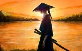 Picture water, nature, weapons, sword, hat, art, samurai, Anime, guy, Blik, Anime, Samurai Champloo, Jin, bustersot