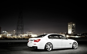 Picture white, night, the city, BMW, BMW, white, skyscraper, 750Li, 7 Series, F02