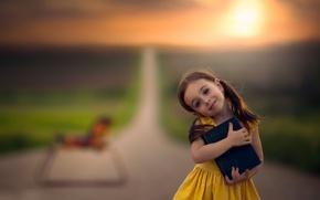 Picture road, smile, girl, book, bokeh, horse