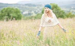Picture field, girl, dress, fashion, takes, knitted clothes