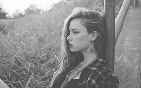 Picture girl, woman, model, tattoo, black and white, Hattie Watson, female, necklace, earring, b/w, flannel