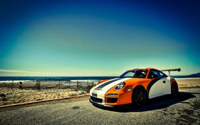 Wallpaper GT3, sea, Porsche, orange, orange, Porsche, 911, the sky