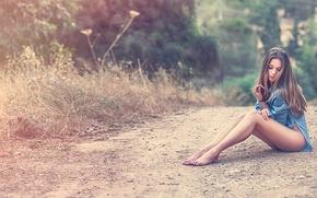 Picture road, girl, shirt, legs, Che Nai
