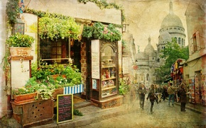 Wallpaper vintage, France, restaurant, old, the city, street, small, Old street