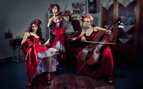 Picture notes, music, girls, violin, new year, brunette, blonde, chair, cello, musical instruments, dresses