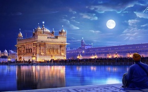 Picture art, people, the city, lights, the moon, people, night, India, Punjab, The Golden temple, river