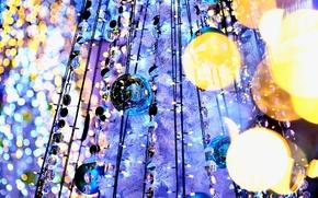Wallpaper garland, holidays, reflection, light, lights, bokeh, tree, balls