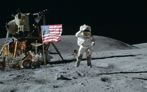Picture space, jump, Wallpaper, the moon, flag, Astronaut, America, USA, the lunar module, American, Rover