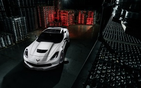 Picture Corvette, Chevrolet, White, View, Stingray, Wheels, Top, B-Forged
