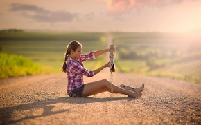Picture road, sand, girl, boots, space, bokeh
