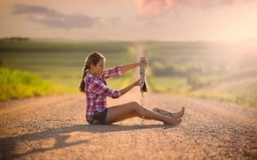 Wallpaper bokeh, girl, space, boots, road, sand