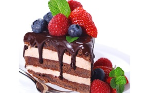 Picture raspberry, the sweetness, chocolate, blueberries, strawberry, cake, cake, cake, mint, chocolate, strawberry, dessert, berries