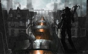 Picture night, bridge, pipe, the city, weapons, train, robot, hat, art, lava, abyss, hunter, crossbow