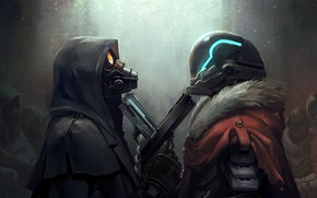 Picture gun, fiction, soldiers, clash, art, pearls, gas mask