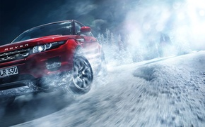 Picture Red, Land Rover, Range Rover, Car, Front, Snow, Evoque, Skid