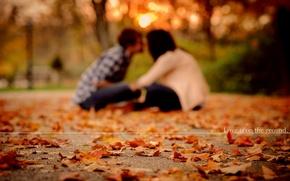 Wallpaper autumn, leaves, love, girls, mood, mood, foliage, pair, love, guys, falling leaves, mood, parks, pair, ...