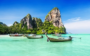 Picture sea, trees, rocks, coast, boats, trees, coast, rocks, boats, the sea, Tropical Paradise, Tropical Paradise