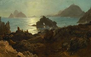 Wallpaper landscape, nature, picture, Albert Bierstadt, Islands The Farallon