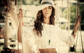 Picture girl, swing, outfit, pendant, hat
