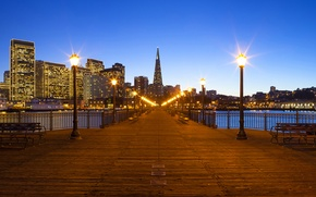 Picture lights, lights, CA, San Francisco, benches, California, San Francisco, they say, pier, Financial District, benches