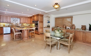 Picture design, photo, table, lamp, chairs, interior, kitchen