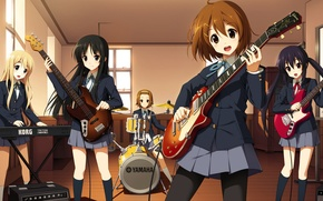 Picture Guitar, School, Girls, Girls, K-on, School, Mio Akiyama, Yui Hirasawa, Azusa Nakano, Cajon, Class, keyboards, …