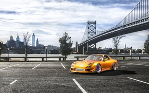 Picture bridge, the city, Parking, Mazda, Drift, Car, RX7