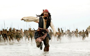 Picture Johnny Depp, Sea, Running, Jack Sparrow, Pirates of the Caribbean, The natives