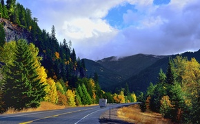 Picture road, autumn, the sky, trees, mountains