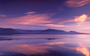 Wallpaper color, lake, reflection, mountains, Clouds