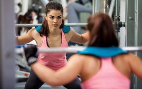 Wallpaper sport, woman, fitness, weight lifting