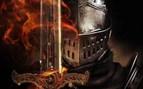 Wallpaper flame, sword, helmet, armor, knight, Dark Souls