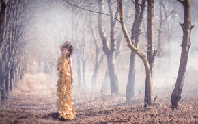 Picture autumn, leaves, girl, dress, Dress of autumn leaves