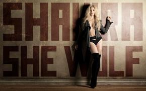 Picture wall, boots, blonde, Shakira, Shakira