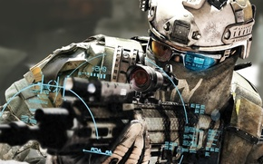 Picture weapons, soldiers, machine, sight, electronics, soldier, Tom Clancy's Ghost Recon: Future Soldier