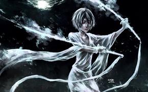 Picture girl, tape, weapons, the moon, sword, art, bleach, kuchiki rukia, nanfe
