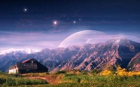 Picture landscape, mountains, house, fiction, art
