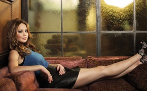 Wallpaper Patrick Fraser, OscarWrap, lies, actress, Jennifer Lawrence, Jennifer Lawrence, on the couch, photoshoot, model