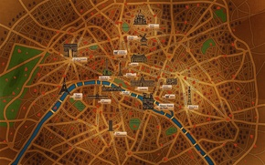 Picture the city, house, river, street, tower, Paris, map